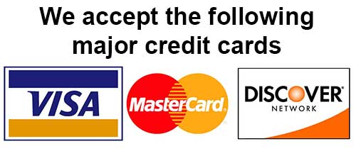 We accept VISA, MC and Discover Cards